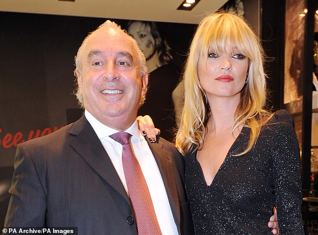 High Street misery: Sir Philip Green (pictured with supermodel Kate Moss) saw his Arcadia empire crash into administration at the start of this month