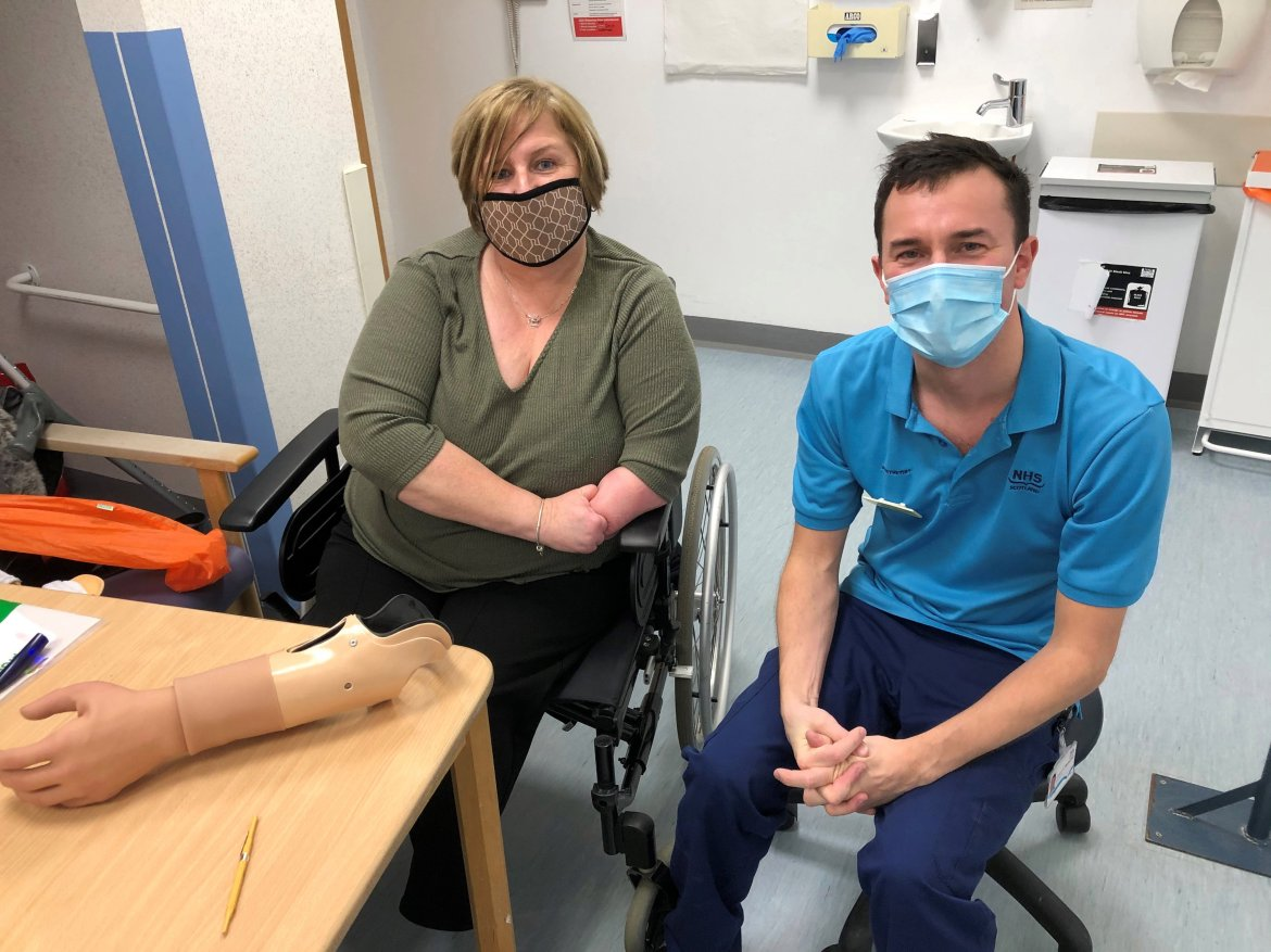 Marguerite lost both legs and part of her left arm to sepsis from a paper cut