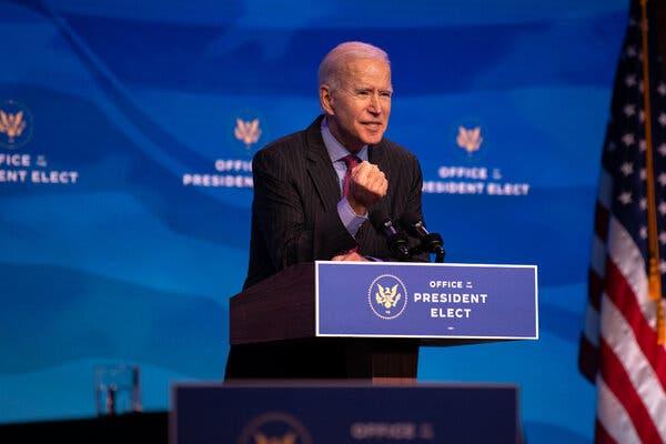 President-elect Biden speaking in Wilmington, Del., on Friday.