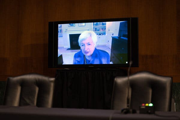 Janet Yellen appears before the Senate Finance Committee on Tuesday.
