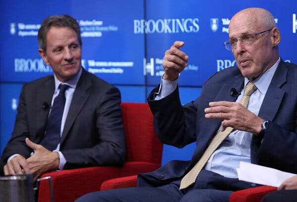 Timothy F. Geithner, left, and Henry M. Paulson Jr., two former Treasury secretaries, in 2018. Both support Janet Yellen's confirmation as the new Treasury secretary.