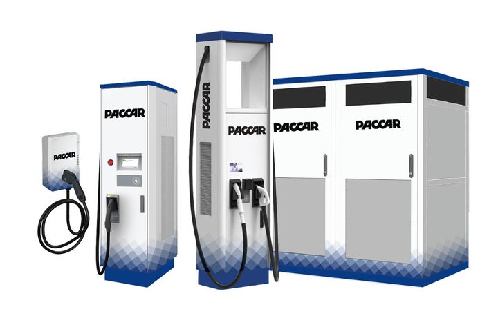 Paccar Parts' new electric vehicle charging stations maximize coverage over a wide range of electric vehicles. - Photo: Paccar Parts