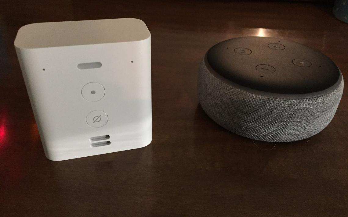 The Echo Flex (left) plugs directly into an electrical outlet while the Echo Dot requires a cord to connect to a power source. Frank Lee / Brainerd Dispatch