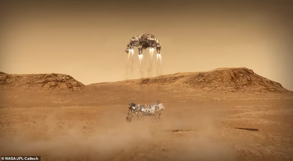 The final stage of the landing saw the rocket-powered craft carry out the same maneuver as the Curiosity did in 2012 using the sky crane. Nylon cords lowered Perseverance 25 feet below and after it touched down on the Martian surface, the cords detached and the sky crane flew away