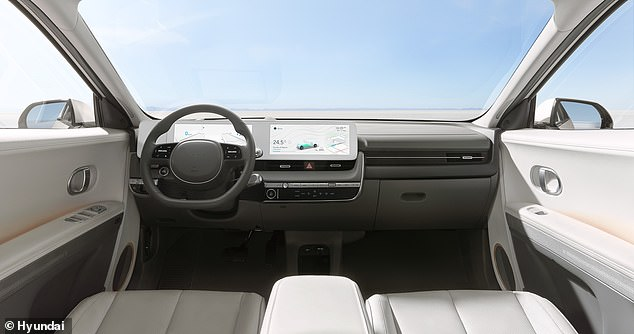 Like Tesla, Hyundai has opted for a super-minimalist interior, with hardly any buttons scattered across the dashboard