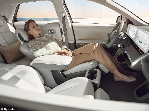 The front seats recline all the way back, with the front passenger chair going almost flat