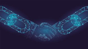 Image of two glowing blue chains shaking hands. representing sto platforms
