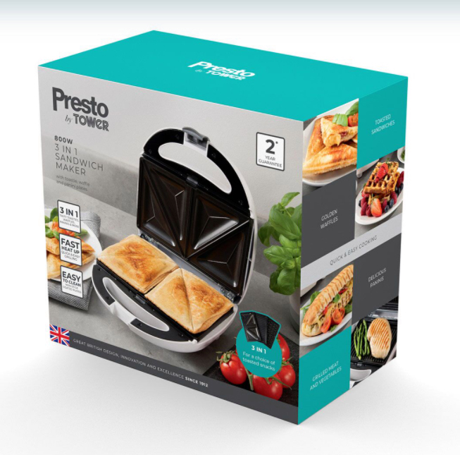 Grab this Tower Presto 3-in-1 sandwich maker for some quick and tasty treats