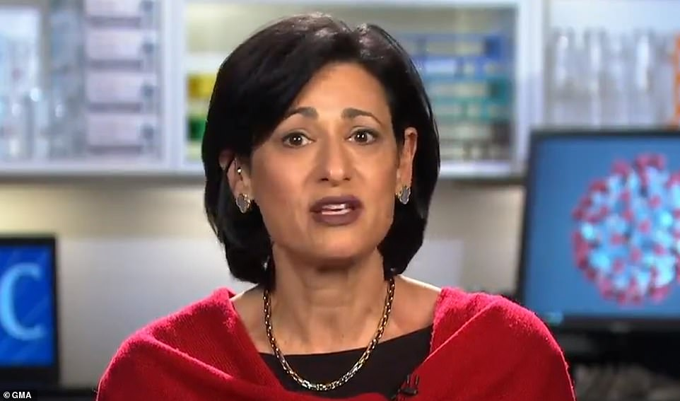 CDC director Dr Rochelle Walensky (pictured) marked the one-year anniversary of the World Health Organization declaring a global pandemic and warned that infections have not fallen far enough yet and that the U.S. 'must remain vigilant' as the nation scales up vaccine distribution
