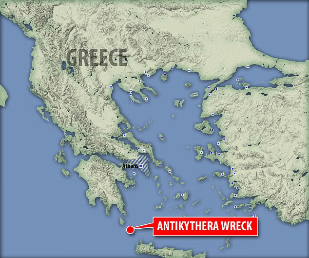 The Antikythera Mechanism was named after the southern Greek island off which it was found, in a mid-1st century BC shipwreck, discovered first in1901 in the Aegean Sea. Location of the shipwreck pictured