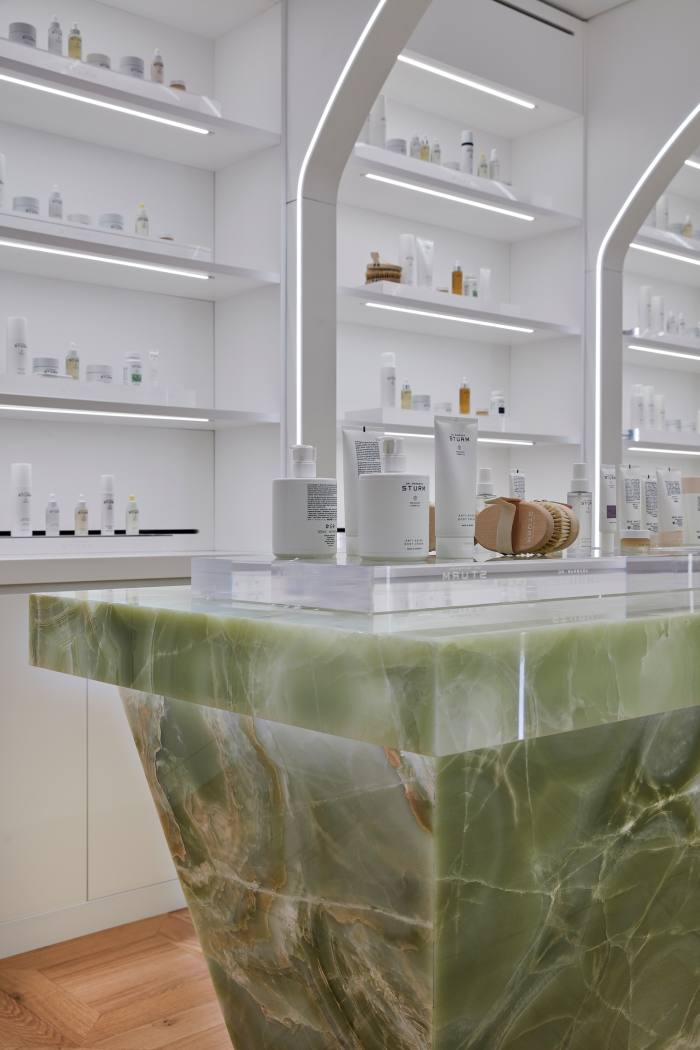"""The """"Discovery Table'""""made from Italian green onyx"""