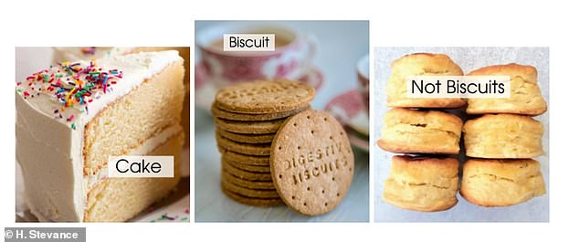 Dr Stevance trained two classifiers on 100 recipes of traditional cakes and biscuits. Visual examples of the cake and biscuit class. Dr Stevance said: 'It is important to note that scones are not biscuits'