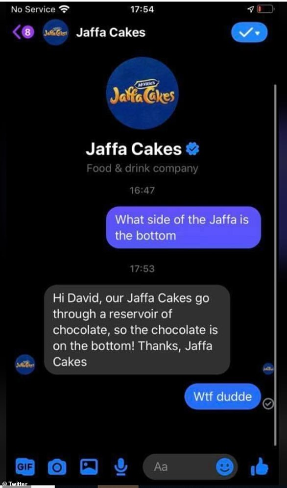 In a screenshot of a Twitter conservation shared widely on UK Facebook groups, McVitie's appeared to have confirmed that chocolate is at the bottom of a Jaffa Cake