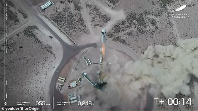 ¿God speed New Shepard,¿ Arian Cornell, director of astronauts and orbital sales, said over the livestream moments before the massive rocket ignited its engines and took off at roughly 12:48pm ET