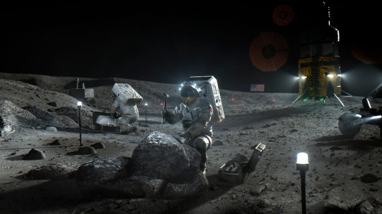 This illustration from Nasa shows Artemis astronauts on the Moon. (Credits: AP)