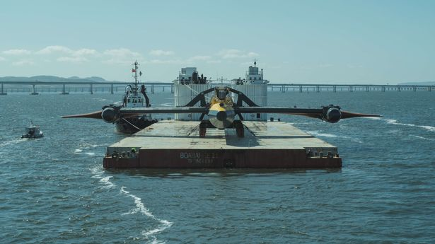 The O2 turbine being towed from Forth Ports in Dundee
