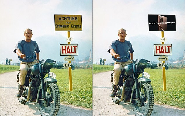 MailOnline's interpretation of how a scene from The Great Escape - starring Steve McQueen as Captain Virgil Hilts - would look before and after an ad for a Samsung smartphone has been digitally inserted