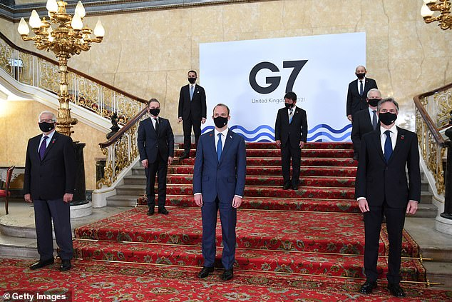 G7 ministers pose for a 'family photo' yesterday. India is not part of the G7 but they are attending the gathering as guests