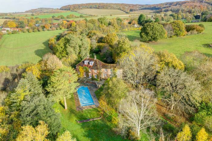 A five-bedroom Georgian-style former vicarage in Bradenham, High Wycombe, with 1.56 acres, £1.8m