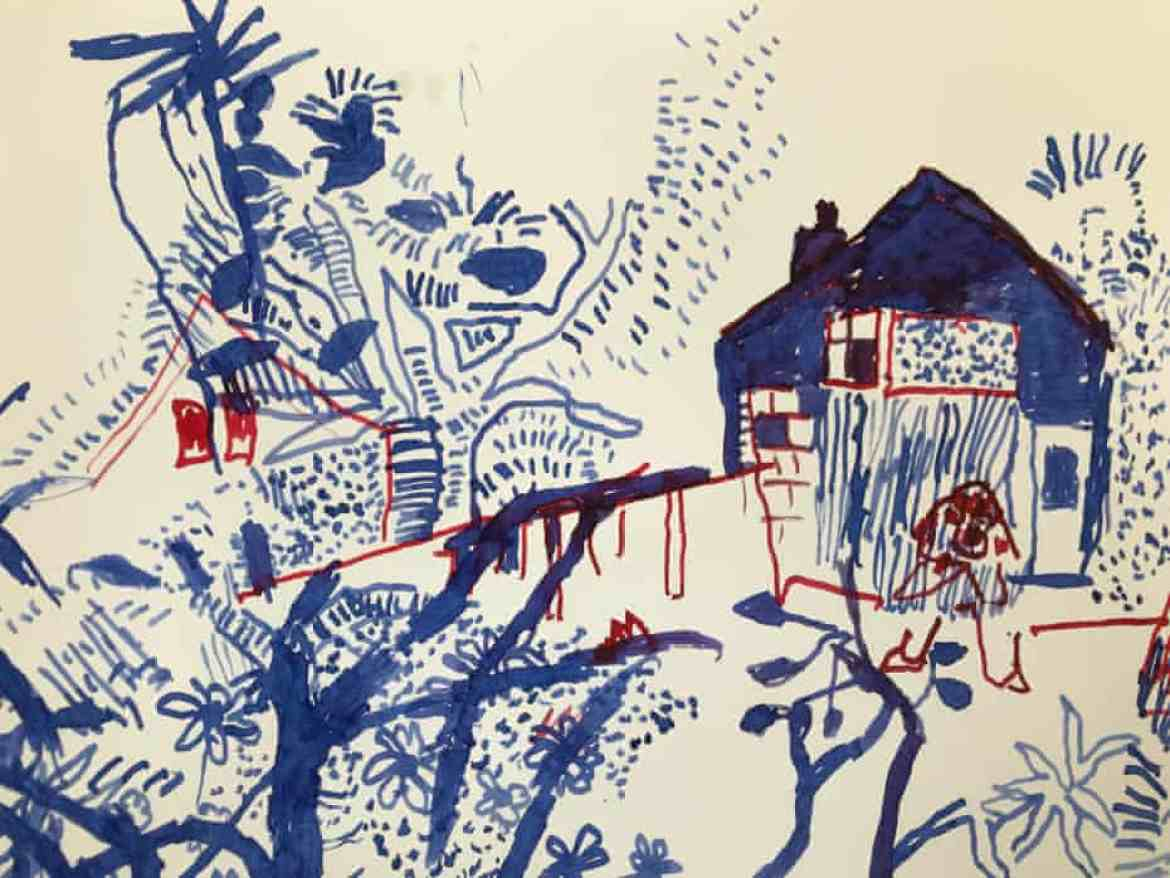 The quill and ink sketch that Philip Sutton made in his daughter's garden in Dorset – the first work he has been able to do outside of his care home after being confined for 421 days.