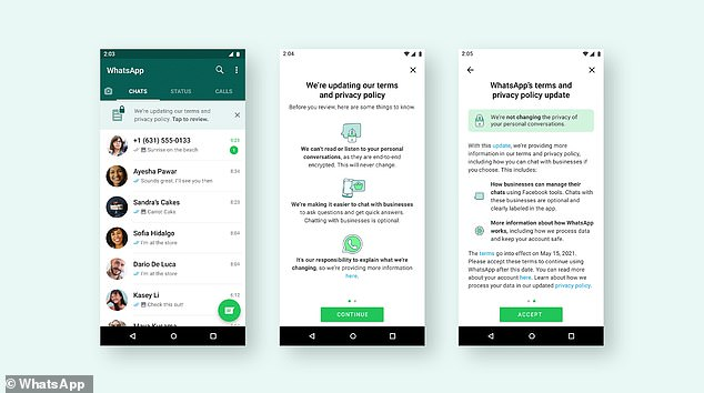 The banner, which appears on the WhatsApp landing page (shown left), reads 'We're updating our terms and privacy policy. Tap to review.' Tapping on 'review' will bring up a second page containing a deeper summary (middle). Users who click on 'more information here' at the bottom of this second screen (which you can see just above the green 'Continue' button) will be taken to a new landing page on the WhatsApp website with more information. Users can accept the terms on the last page (right) by tapping 'Accept'