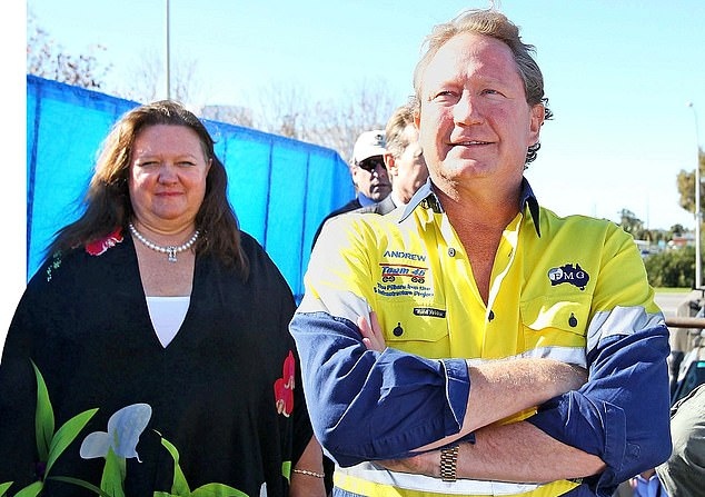 Cashing in: Fortescue Metals Group boss Gina Rinehart - pictured, left, with the company's biggest shareholder Andrew 'Twiggy' Forrest - has amassed a cool £16.2bn fortune