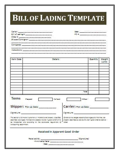 Bill of Lading Template | Free Business Templates