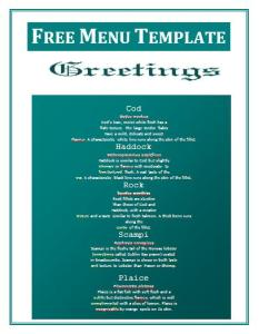 Free menu Templates