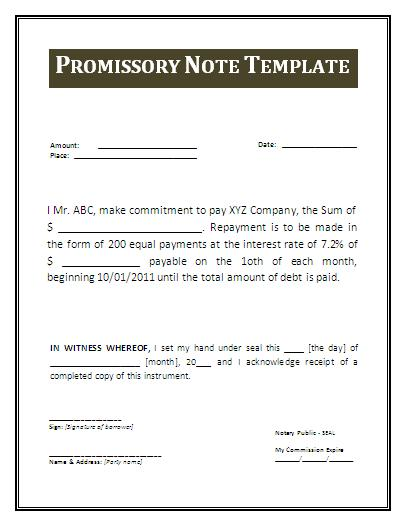 Promissory Notes Templates  Promisory Note Example