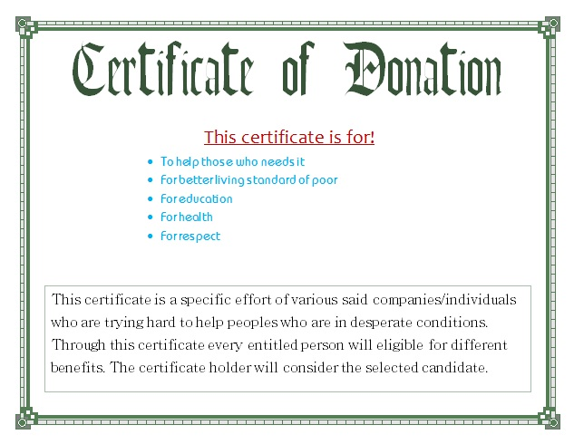 donation certificate templates
