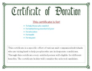 Certificate for Donation Template