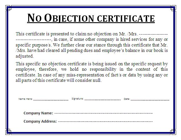No Objection Certificate Template Free Business Templates