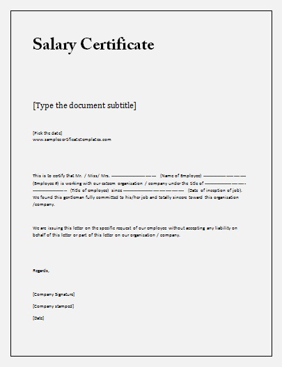 salary certificate template free business templates