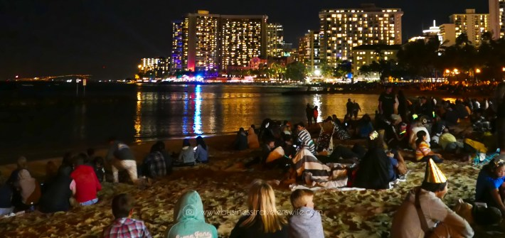 Countdown to New Year at the Waikiki Beach