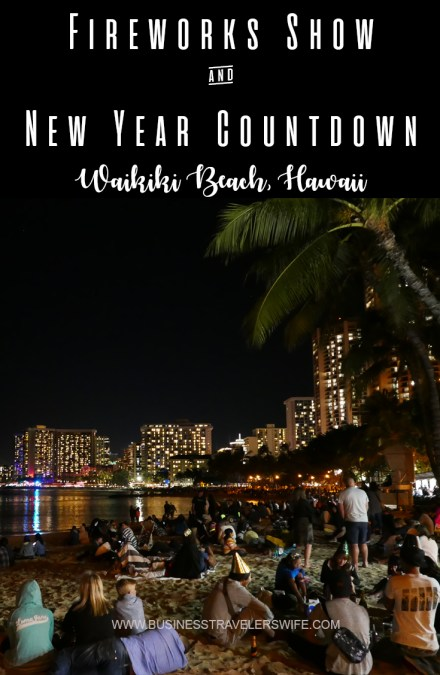 Fireworks Show Display and Countdown to New Year at Hawaii's Waikiki Beach