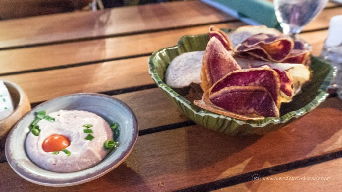 A Feast for the Belly and the Eyes at Old Lahaina Luau in Maui, Hawaii Feast Appetizer Taro Chips Hummus