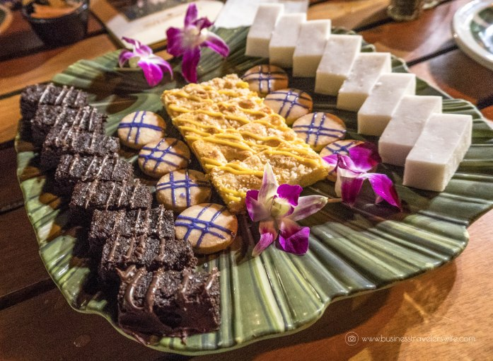 A Feast for the Belly and the Eyes at Old Lahaina Luau in Maui, Hawaii Feast Buffet Dessert Platter Passion Fruit Cake Upcountry Lavender Lemon Shortbread Cookies Hawaiian Chocolate Chili Pepper Brownie Haupia