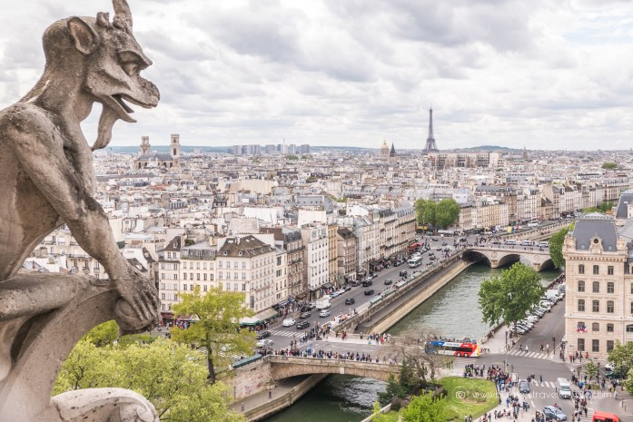 Beautiful Sights in Paris You Shouldn't Miss Gargoyle EIffel Tower View Notre-Dame Tower