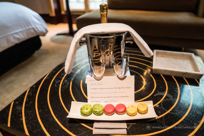 Where to Stay in Paris- 5-Star Hotel and Affordable Accommodations Park Hyatt Paris-Vendome Welcome Gift french macarons bottle of champagne