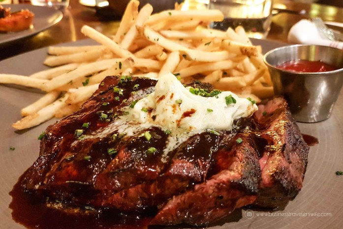 Las Vegas Travel Hack Using myVEGAS Rewards and Hotel Comps Wolfgang Puck Bar & Grill Flat Iron Steak with Red Wine Sauce