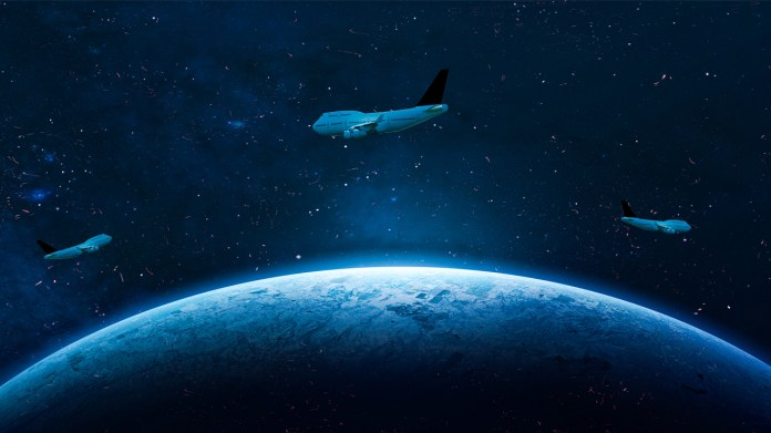 airplane in space