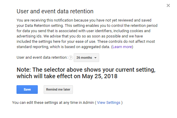 user and event data retention