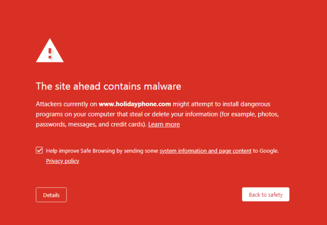 site contains malware warning
