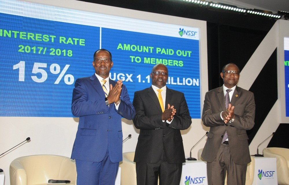 The National Social Security Fund (NSSF) yesterday announced an interest payout of 15 per cent on members' savings for the financial year 2017/2018.