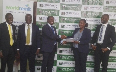 Bank of Africa and renown international digital money transfer company WorldRemit have signed a partnership that will allow Ugandans in the diaspora to send money to their relatives and friends in Uganda.