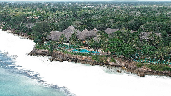 Aerial View of Diani Beach in Mombasa Kenya. Visits to Kenya beaches and national parks are the key tourists attractions to Kenya.