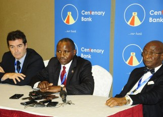 """Dr. Marcos Eguiguren, Executive Director GABV, Mr. Fabian Kasi, Managing Director, Centenary Bank MD and Prof Chris Ogbechie former Chairman, Diamond Trust Bank Plc addressing journalists during the Global Alliance for Banking on Values conference at Sheraton Hotel on 17th October, 2018. The conference was held under the theme, """"Financial Inclusion from a values-based banking perspective""""."""