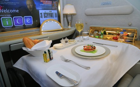 Emirates offers regionally inspired multi-course meals, prepared by Emirates' master chefs as well as complimentary wines, spirits and cocktails