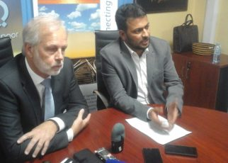 Caption Daniel Richner (Left) and Dilip Bhandari the CEO Spedag Interfreight Group in charge of East Africa addressing the media about the new Tracking Innovation