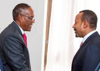 Somaliland President Muse Bihi (left) and Ethiopia Prime Minister Dr Abiy Ahmed shake hands in Addis Ababa on Wednesday.